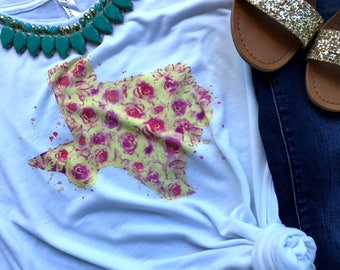 Yellow Rose of Texas Floral Muscle Tank/Slouchy Tee/Basic Tee