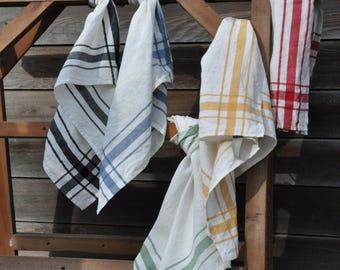 "Belgian linen tea towel kitchen towel Camaret square striped 27""x27"""