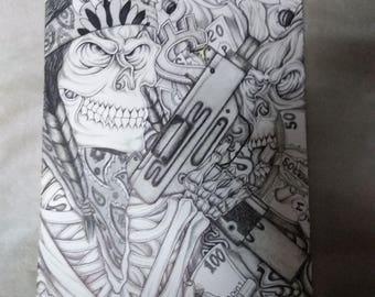 gangster native skull with gun n money