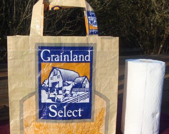 Recycled Feed Bag Tote, reusable tote bag, grocery tote, recycled shopping bag, reusable grocery bag, recycled tote bag, farm stead