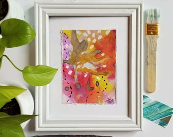 Friendship Fuschia.5 . Mixed media - modern abstract expressionist watercolor painting on paper. 5x7.
