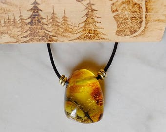 Amber necklace pendant from Mexico - Burbujitas