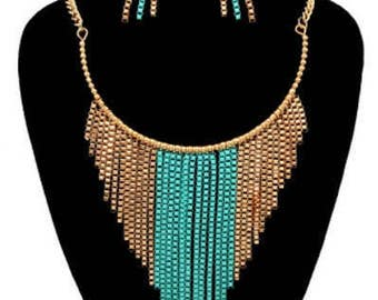 Box Chain Drop Necklace Set
