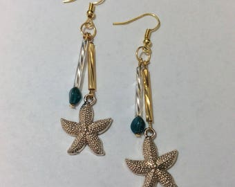 """Starfish and his turquoise Pearl"" earrings"