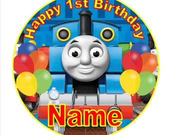 SPECIAL!! Thomas Edible Round Wafer Cake Topper + 30 Mini Cupcake toppers