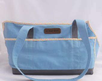 Sky Blue/Grey/Triangles Carrier Tote