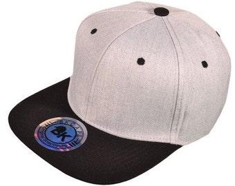 BK Cap Cotton Flat Bill 2 Tone Snapback Hat w/ Same Color Underbill