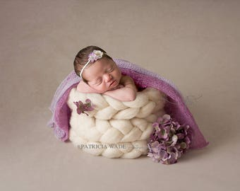 Newborn Digital Background Set of Two/Wool Braid Bucket/Floral Hydrangea/Mauve and Lavender