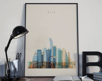 Doha Art Doha Watercolor Doha Multicolor Doha Wall Art Doha Wall Decor Doha Home Decor Doha City Doha Skyline Doha Print Doha Poster
