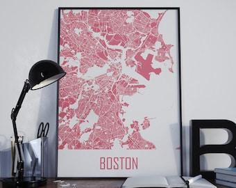 Boston Map Boston Travel Map Boston Street Map Boston Map Poster Boston Map Photo Boston Map Print Boston Wall Art Boston Wall Decor