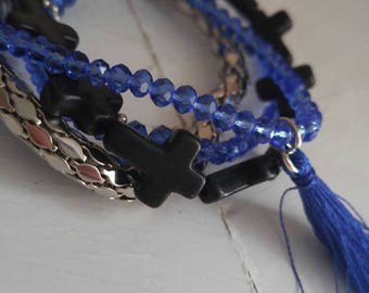 Blue, black and silver combo bracelet.