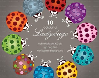 Colourful Ladybugs ~ g ~ clip art instant download