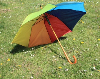 Rainbow Umbrella Wedding / Special Occasion / Golf Rain Parasol with Wooden Crook Handle and Automatic Opening / Bridesmaid Groom Photoshoot
