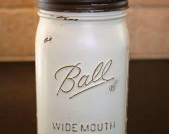 Medium Large Ochre Mason Jar with Rustic  Brown Lid