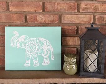 Elephant Mandala Canvas, Blue & White, 11x14