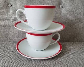 Brasserie Williams Sonoma Red Band Cup and Saucers