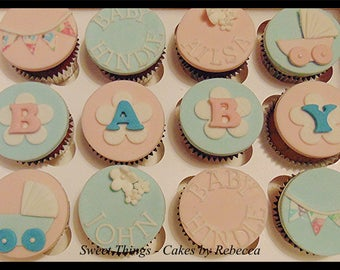Fondant cupcake toppers x 12