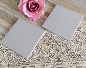 Set of 2 Simple Light Gray Stone Tile Coasters