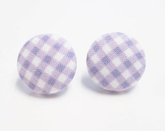 Lavender gingham earrings covered button earrings handmade earrngs post earrings