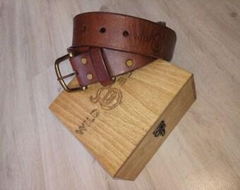 Belt of buffalo leather. Handmade works