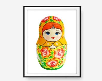Matryoshka Poster, Nursery print, Russian Nesting Doll, Digital Print, Folk art print, printable artwork, Instant download