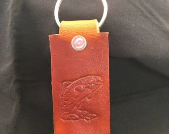 Genuine Leather Key Chain - Trout