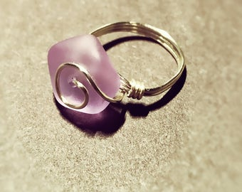 Light purple seaglass ring, silver wire wrapped, size 5.5