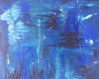 Abstract midnight blue original painting
