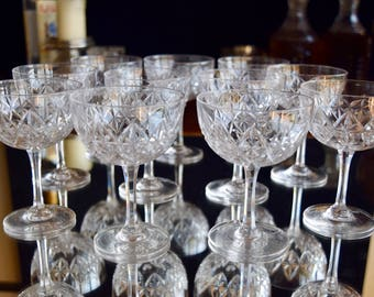 Eleven French Crystal Edwardian Champagne Coupes