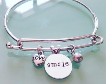 Smile Silver Charm Bracelet