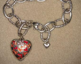 Brighton Bbracelet/Silver Heart Bracelet/Chain Bracelet/Gift For Her/Charm Bracelet/Silver Tone Bracelet/Vintage Heart Chain Bracelet/Nr.002