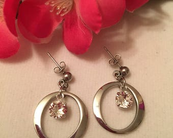 Earrings stainless steel, Swarovski and free shipping!