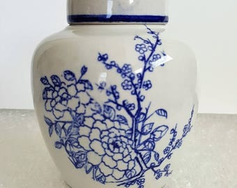 Vintage Cobalt Blue and White Ginger Jar