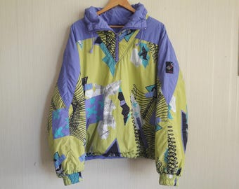 140 Vintage Ski Jacket Etirel, 90'S Printed Winter Jacket L-XL, Winter Parka Coat, Snow Jacket, green and purple winter jacket, windbreaker