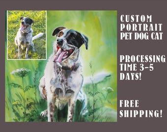 Pet Portraits Custom Portrait Painting Family Wedding Portrait From Photo Pet Portrait Original watercolor painting Custom Cat Portrait