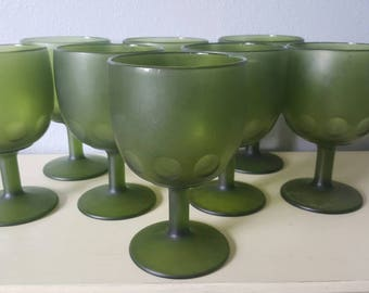 Vintage Avocado Green Thumbprint Frosted Goblets boho wedding