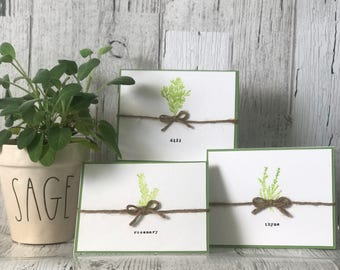 Kitchen Herb Note Card Set | Recipe Cards
