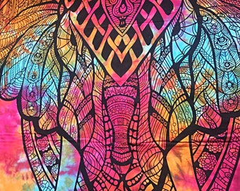 Tie-dye multicoloured hand printed bedsheet/ throw