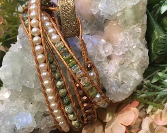 Pearl and Jasper Wrap Bracelet