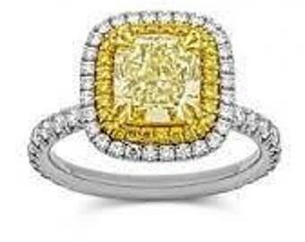 1.42 Yellow Diamond Gia Certified Engagement Ring