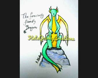 Original watercolour of a ferociously friendly dragon