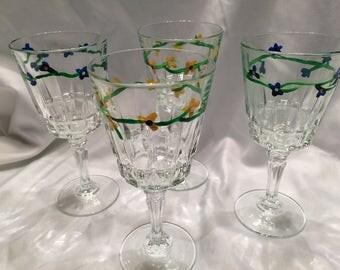 Tiny Flowered Wine Glasses