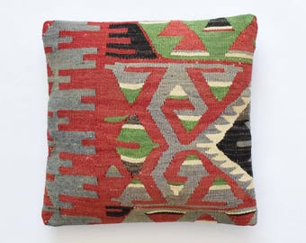 "Kilim rug pillow cover 16""x16"" (40x40cm) 013"
