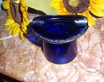 Vintage Cobalt Blue Top Hat Ashtray