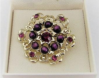Regal purple Vintage Brooch pin with pearls and rhinestones