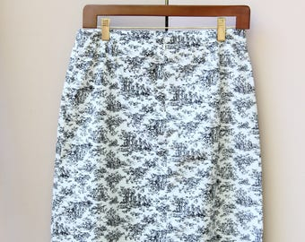 Black and White Toile Skirt
