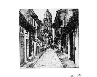 Cartagena de Indias, Historical Center. Fine Line Drawing. Quill & Chinese ink.