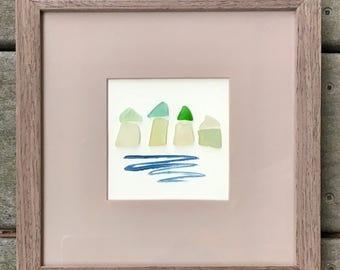 "Sea glass framed art - beach houses abstract art Beach town, coastal, cottage decor. Blue turquoise green beach glass,  driftwood frame 10"""