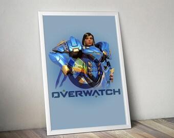 Overwatch PHARAH Poster, Game Poster, Flat Print Design, Digital Printable Poster, Blizzard wall art, Instant Download, game art
