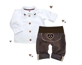 SET leather pants shirt costume pants, classic, 56-86